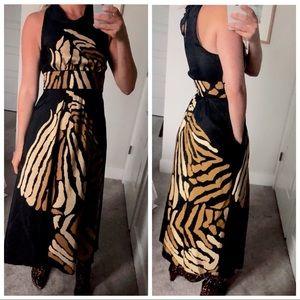 Banana Republic Black Silk Printed Maxi Dress 6P